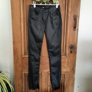 3X1 NYC Coated Black Ankle Split Seam Jeans